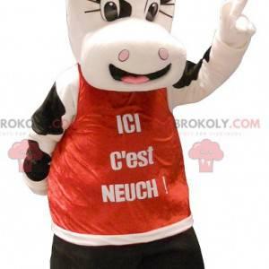 Maskotka ładna czarno-biała krowa - Redbrokoly.com