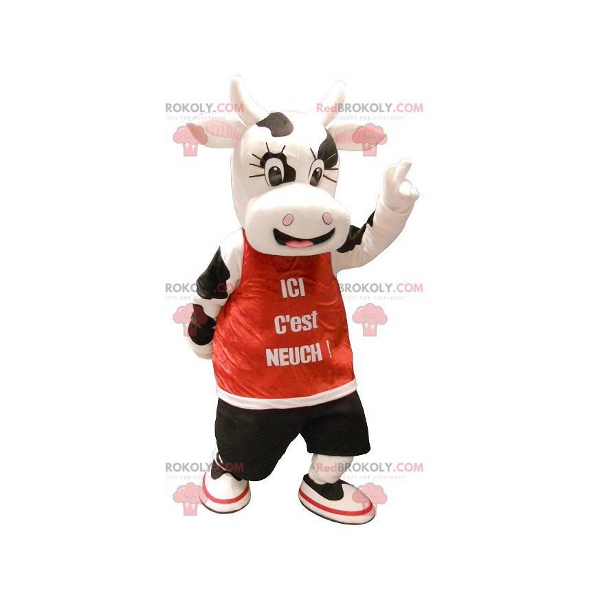 Maskot docela černá a bílá kráva - Redbrokoly.com