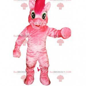 Růžový poník maskot s jeho šílenou hřívou - Redbrokoly.com