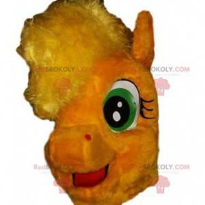 Maskot žlutý poník s jeho šílenou hřívou - Redbrokoly.com