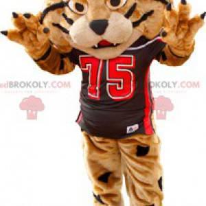 Braunes und schwarzes Tigermaskottchen in Sportbekleidung -