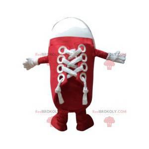 Rotes und weißes Schuhmaskottchen. Schuhanzug - Redbrokoly.com