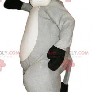 Mascotte di asino grigio super felice. Costume da asino grigio