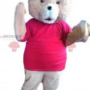 Rosa bjørnemaskot med fuchsia-trøye - Redbrokoly.com
