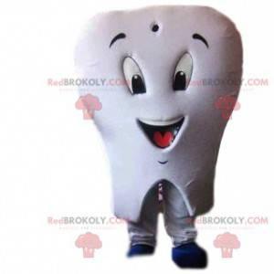 Biała maskotka ząb ze szczoteczką do zębów - Redbrokoly.com