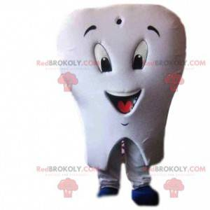 White tooth mascot with a toothbrush - Redbrokoly.com