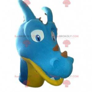 Blaues und gelbes Dinosauriermaskottchen. Dinosaurier Kostüm -