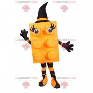 Yellow Block Maskottchen mit einem schwarzen spitzen Hut -