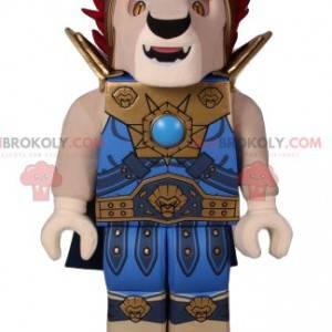Lion Playmobil Maskottchen im blauen Krieger Outfit -