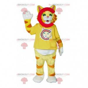 Mascote gato amarelo super fofo - Redbrokoly.com