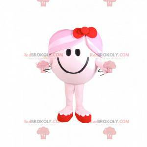 Mascot lille pige rund og lyserød med en rød sløjfe -