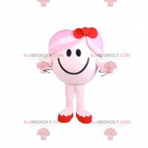 Menina mascote redonda e rosa com um laço vermelho -
