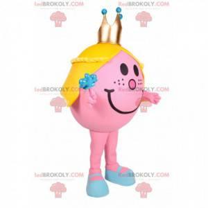 Menina mascote redonda e rosa com uma coroa de ouro -