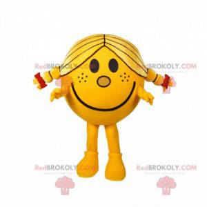 Mascot little girl round and yellow with pretty quilts -
