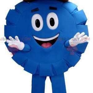 Blue and round poker chip sheriff cowboy mascot - Redbrokoly.com