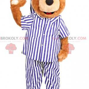 Medvěd maskot s bílým a modrým pruhovaným pyžamem -