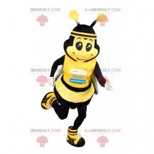 Mascota de abeja en ropa deportiva. Disfraz de abeja -