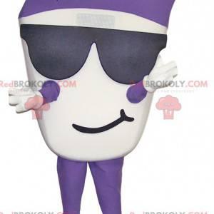Maskot bílé a fialové sněhulák se slunečními brýlemi -