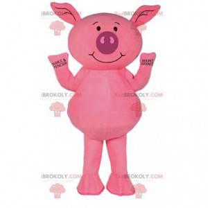Maskottchen kleines rosa Schwein. Rosa Schweinekostüm. -