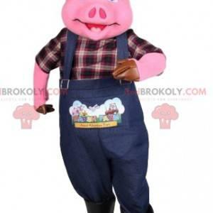 Schweinemaskottchen als Bauer verkleidet. Schweinekostüm -