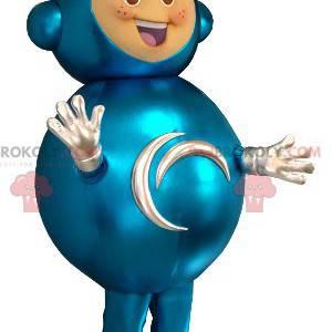 Child extraterrestrial mascot in futuristic suit -