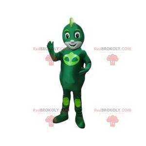 Mascot little hero in green alien - Redbrokoly.com