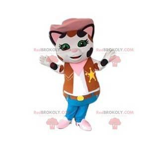Mascotte del gatto in abito da sceriffo. Costume da fica -