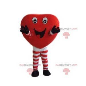 Rotes Herz Maskottchen mit einem großen Lächeln - Redbrokoly.com