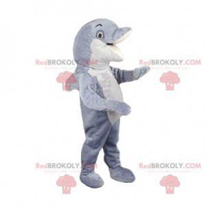 Maskottchen weißer und grauer Delphin. Delphinkostüm -