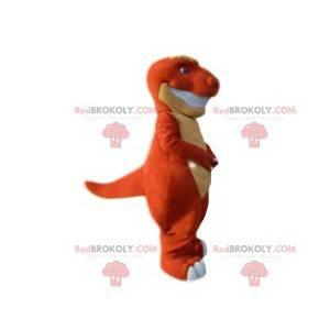 Mascote de dinossauro laranja e amarelo. Fantasia de dinossauro