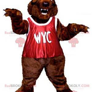 Řvoucí maskot medvěda hnědého s červeným náprsníkem -