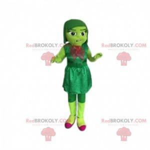 Maskottchen kleines grünes Mädchen mit einem Samtkleid. -
