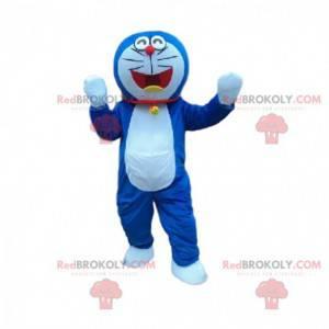Blaues und weißes Katzenmaskottchen. Katzenkostüm -