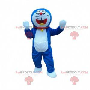 Mascota gato azul y blanco. Disfraz de gato - Redbrokoly.com