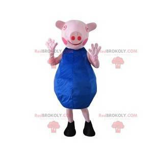 Siembre masotte con un vestido azul. Disfraz de cerda -