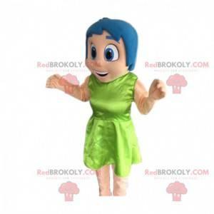 Uśmiechnięta dziewczyna maskotka z niebieskimi włosami. -