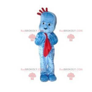Maskot modrý sněhulák s červenou dekou - Redbrokoly.com