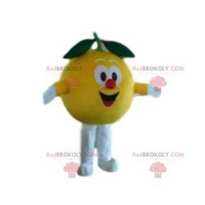 Very happy yellow fishing mascot. Fishing costume -