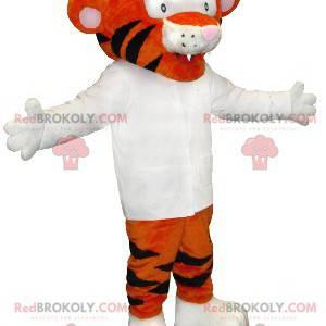 Oranžový a černý tygr maskot s bílou košili - Redbrokoly.com