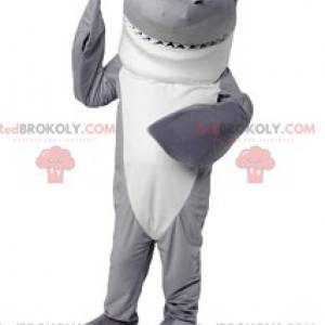 Mascota de tiburón gris y blanco. Disfraz de tiburon -