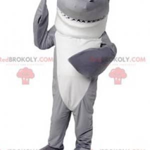 Mascote de tubarão cinza e branco. Fantasia de tubarão -