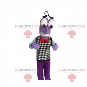 Maskot fialového sněhuláka s kostkovaným svetrem -