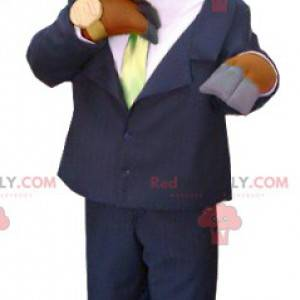 Mascota de alce caribú marrón vestida con traje y corbata -