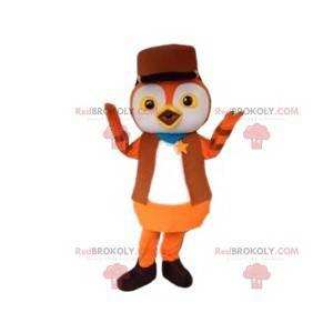 Malý červený pták maskot v šerif oblečení - Redbrokoly.com