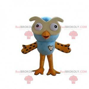 Maskot modré a žluté sovy. Kostým sovy - Redbrokoly.com