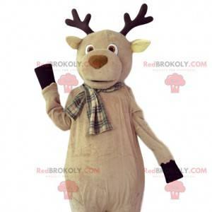 Beige hertenmascotte met een geruite sjaal - Redbrokoly.com