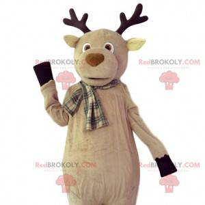 Mascotte cervo beige con una sciarpa scozzese - Redbrokoly.com