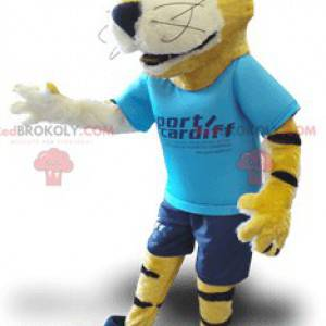 Yellow black and white tiger mascot with a blue outfit -