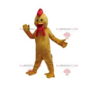Mascote de frango com uma bela crista. Fantasia de frango -