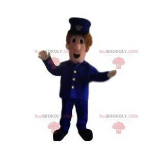 Maskottchenmann in blauer Uniform. Mann Kostüm - Redbrokoly.com